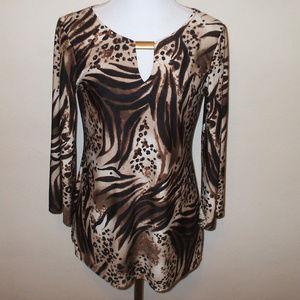 Brown Animal Print Top Shirt w/ Keyhole
